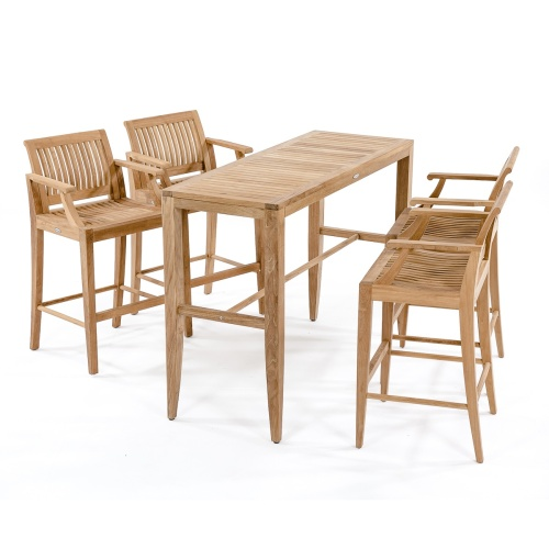 [outdoor teak 5 piece bar set